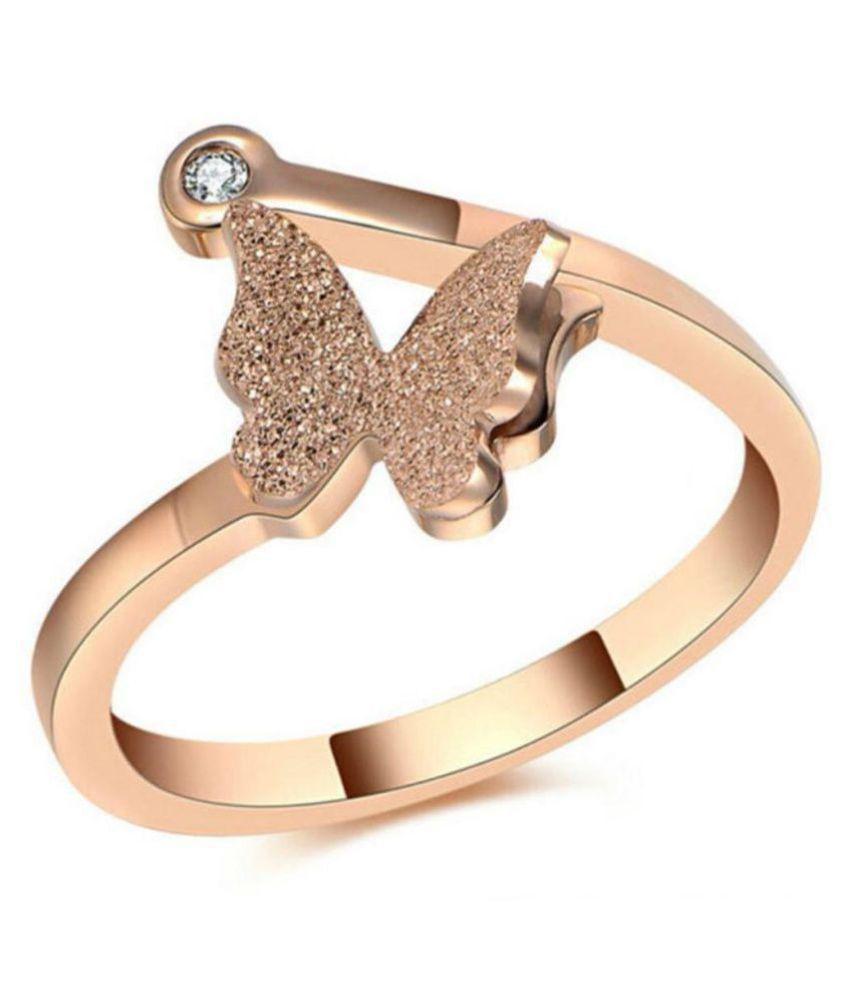 Beautiful Rose Gold Butterfly Elegant Design Adjustable Ring for Women & Girls