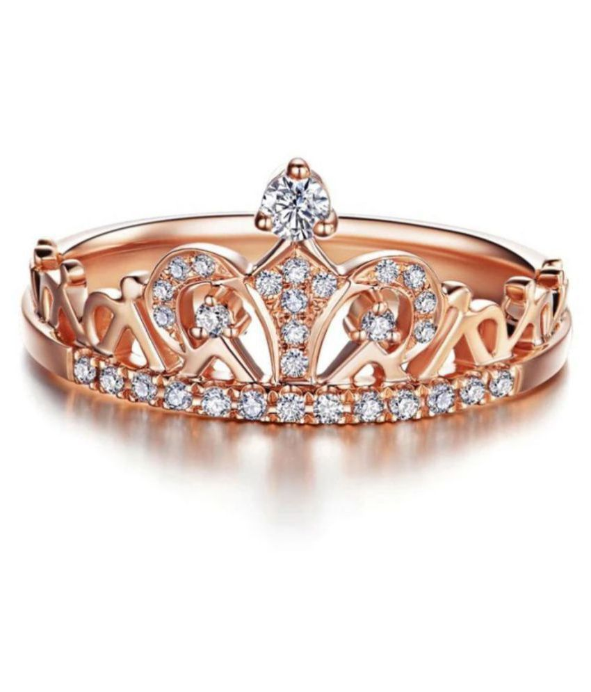 Princess Crown Elegant Ring for Women  amp; Girls  Rose Gold, 6