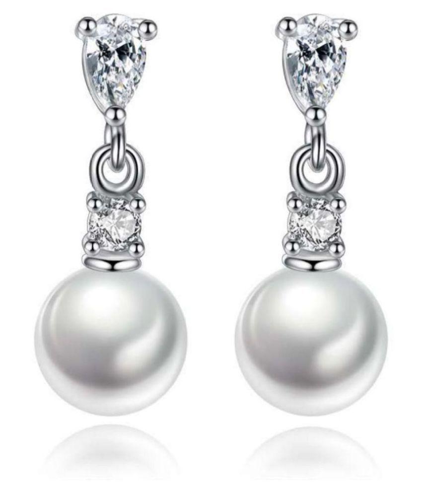 Sterling Silver Designer Pearl Earring With Swarovski Element For Women & Girls