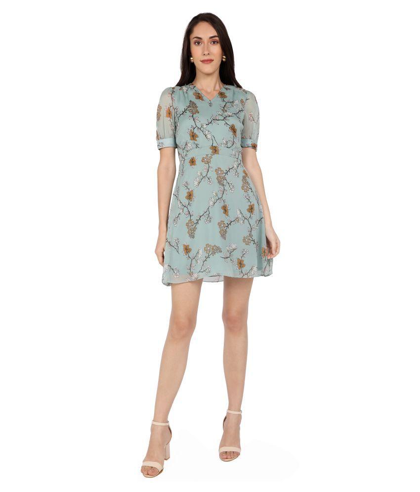Zinnia Chiffon Green A- line Dress