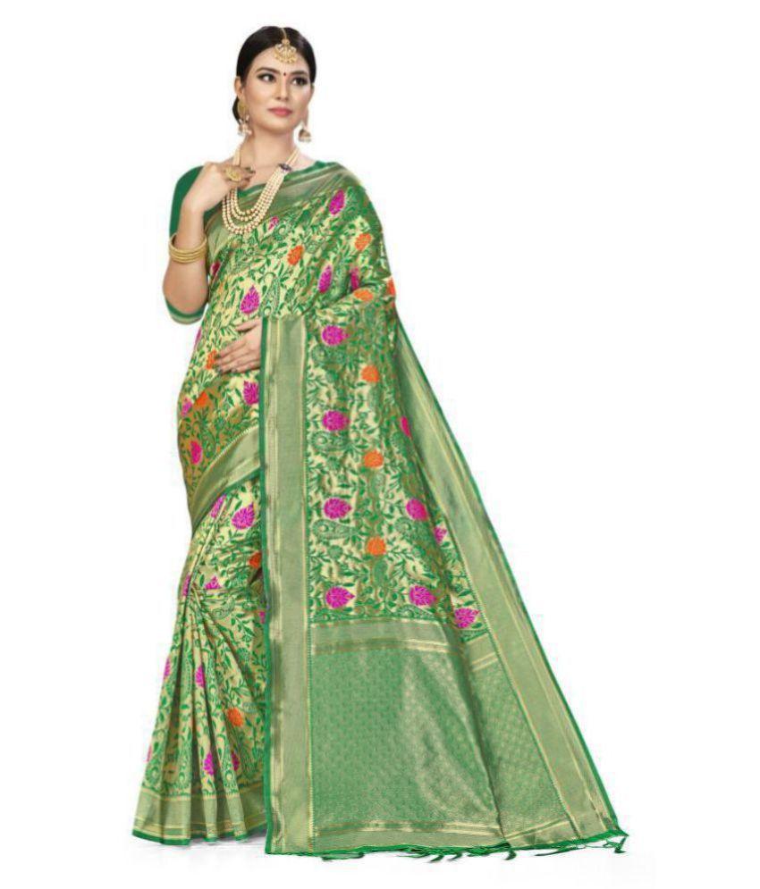 SAINOOR Green Art Silk Saree