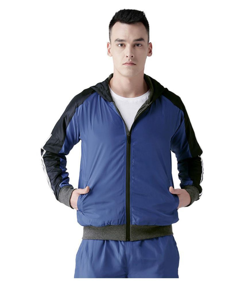 CHKOKKO Men's Hooded Full Zipper Reversible Jackets for Athletics Jogging Gym and Sports
