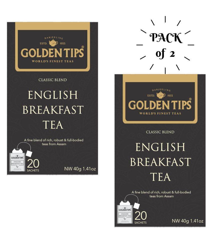Golden Tips English Breakfast Black Tea Bags 40 gm Pack of 2