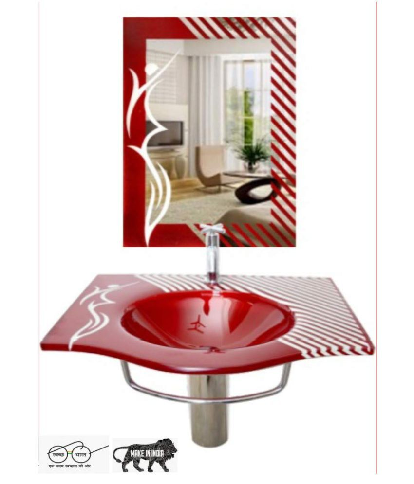 HIMANS Red Toughened Glass Wall Hung Wash Basins
