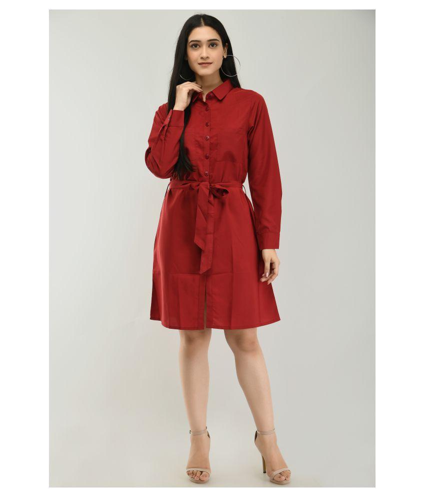 Ruby Creation Crepe Brown Shirt Dress
