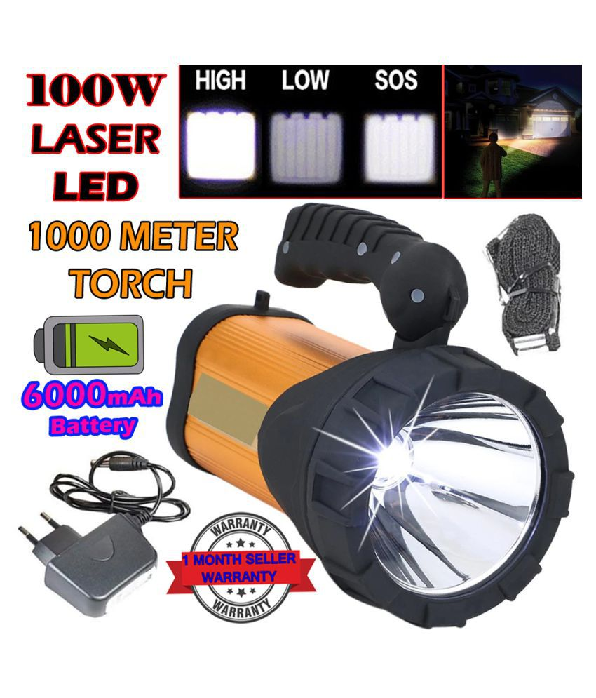 DD 1500 MeterLong Range Rechargeable 3 Mode Torch Above 50W Flashlight Torch 100W Jumbo Torch - Pack of 1