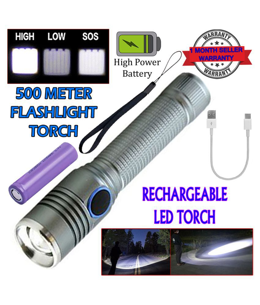 SM Rechargeable 3 Mode 400M Zoomable Torch 9W Flashlight Torch 9W Flashlight Torch water proof USB - Pack of 1