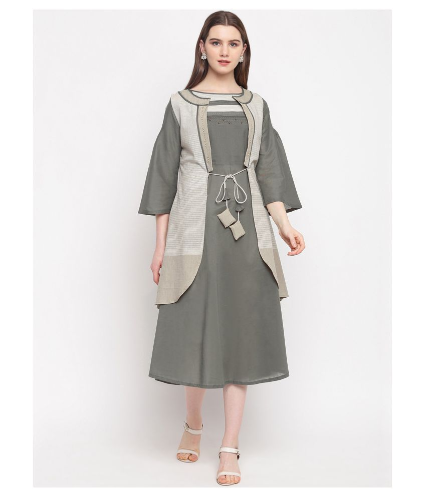 Alposh Cotton Grey Fit And Flare Dress