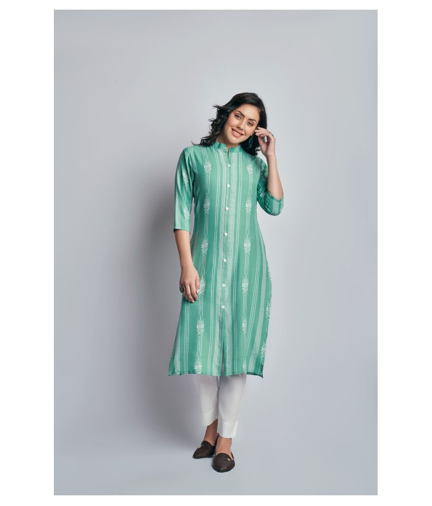 Fashion Tree Green Rayon Straight Kurti