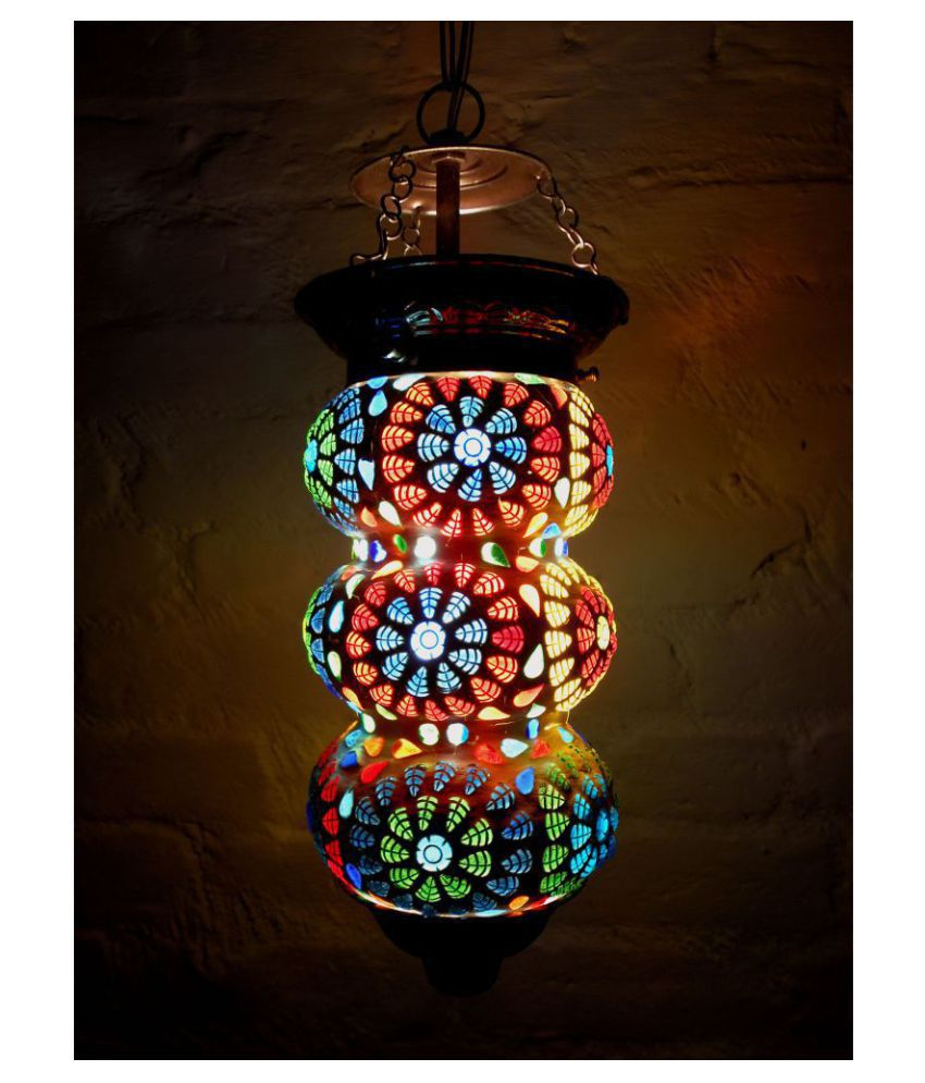 Susajjit Decor Glass Hanging Night Lamp Mosaic Lamp Shade Pendant Multi - Pack of 1
