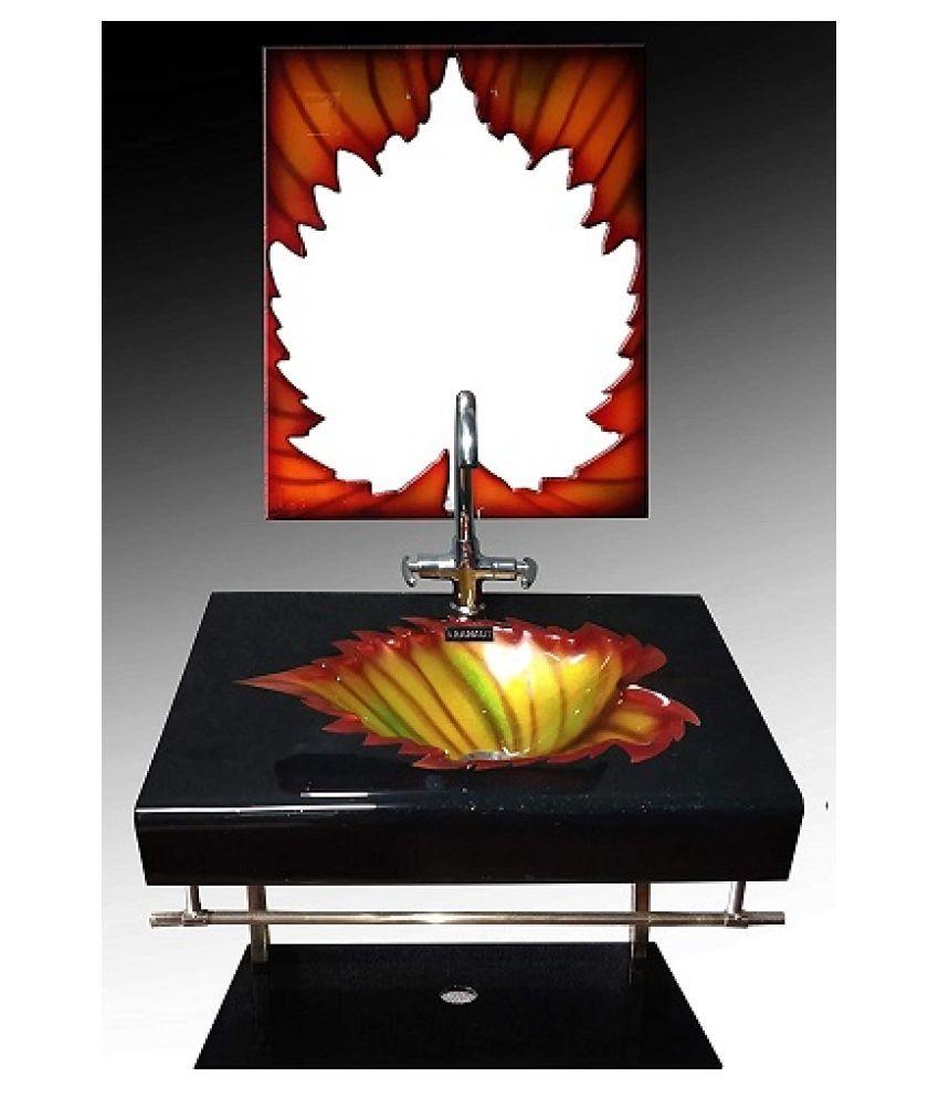 ARVIND SANITARY PVT LTD Orange Toughened Glass Wall Hung Wash Basins