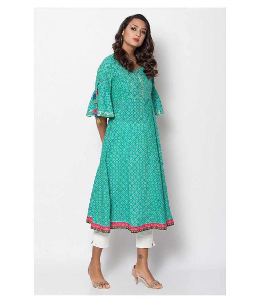 Biba Turquoise Cotton Anarkali Kurti