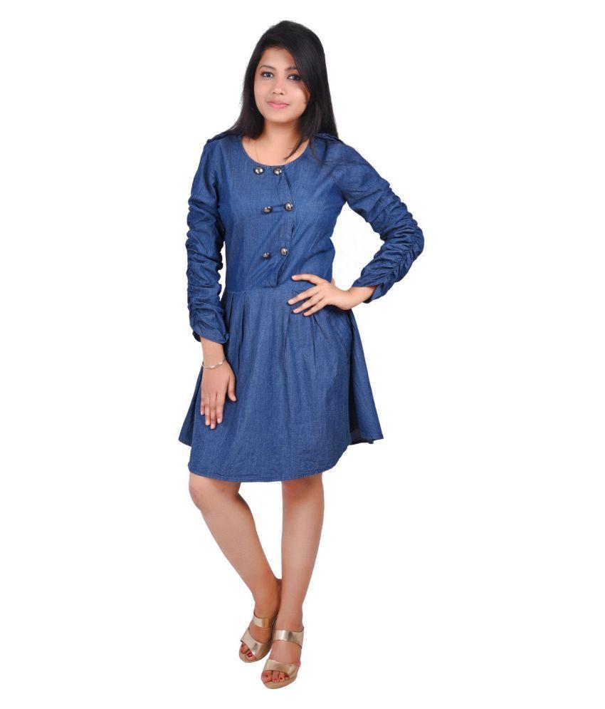 RIVI Denim Blue Fit And Flare Dress