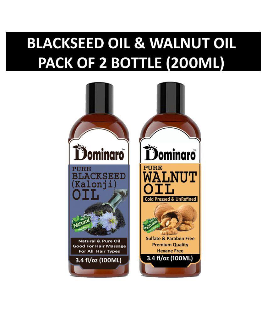 Dominaro 100% Pure Blackseed Oil Walnut Oil 200 mL Pack of 2