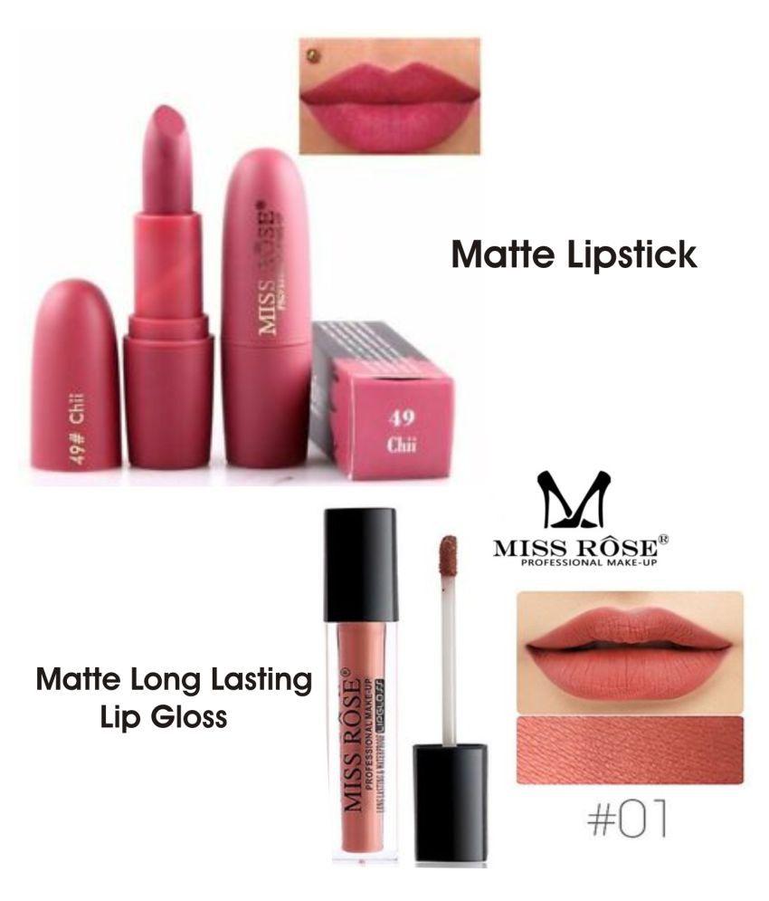 Miss Rose Lipstick & Lip Gloss Combo 7301-26 (49) Liquid Lipstick Peach & Sunkiest Multi Pack of 2 50 g
