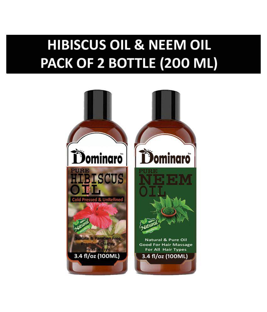 Dominaro 100% Pure Hibiscus Oil Neem Oil 200 mL Pack of 2