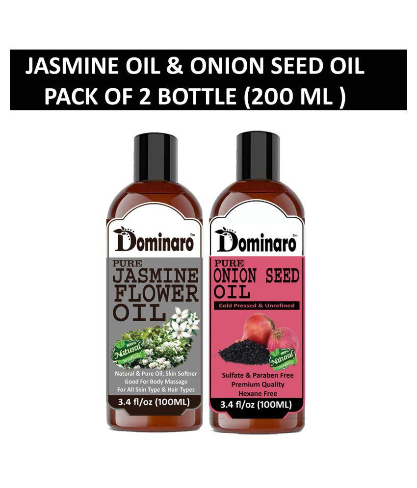 Dominaro 100 % Pure Jasmine Oil Onionseed oil 200 mL Pack of 2