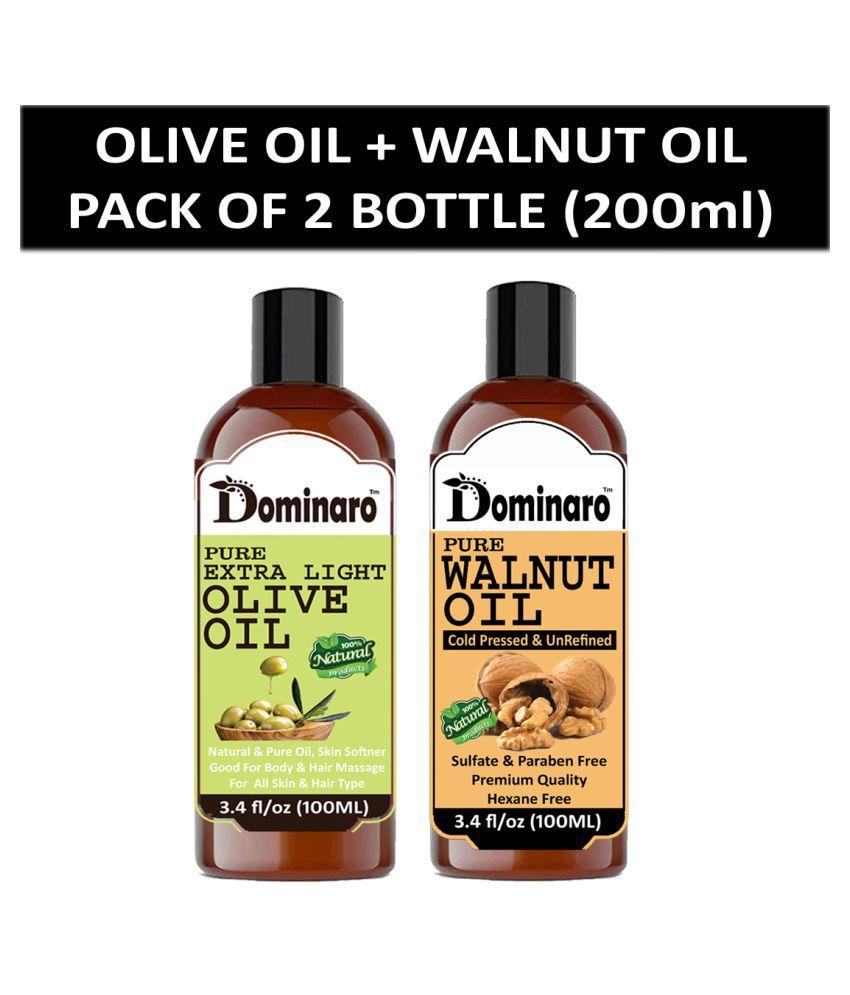 Dominaro 100% Pure Olive Oil & Walnut Oil Ginger Oil 200 mL Pack of 2