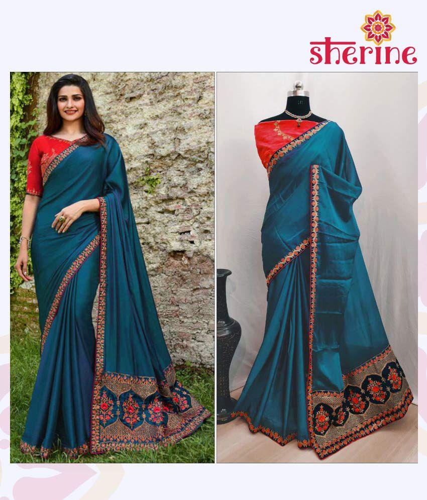 Ofline Selection Blue and Pink Poly Silk Saree