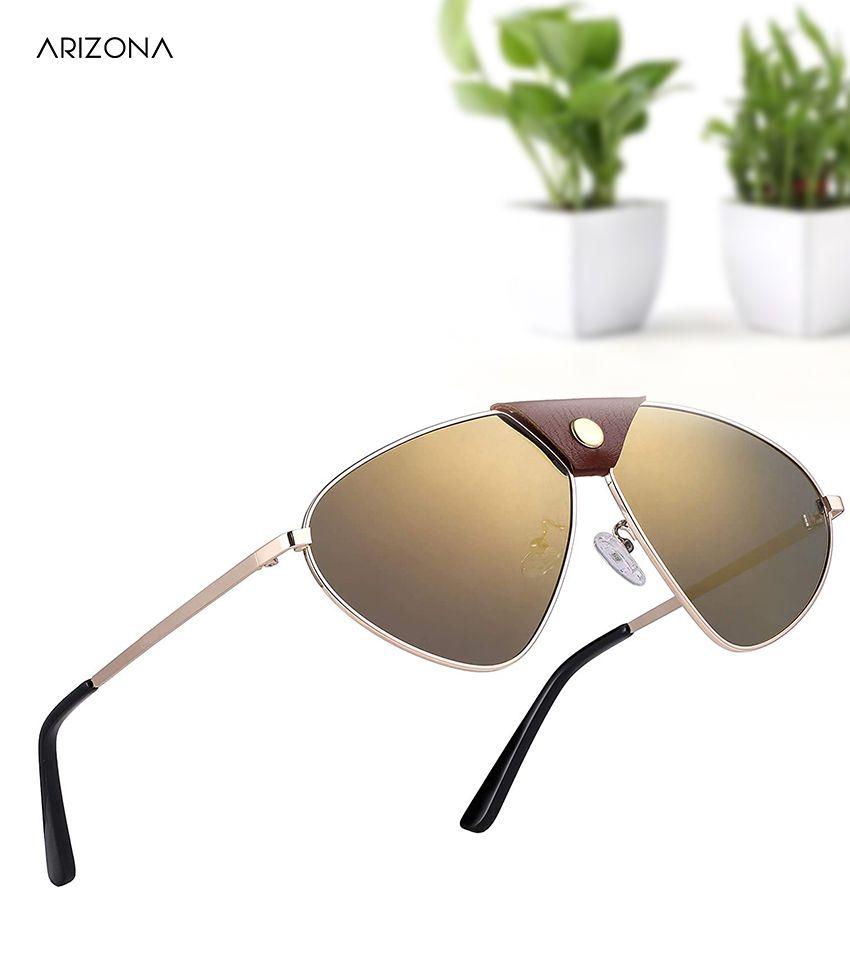 Arizona Sunglasses - Brown Plastic (Polycarbonate) lens Golden frame Designer sunglass for Men & women