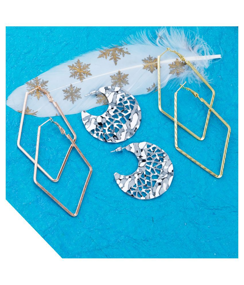 Silver Shine Stylish Fashion Earring Set  3 Bali dangle drop earring  Set  For Women Girls