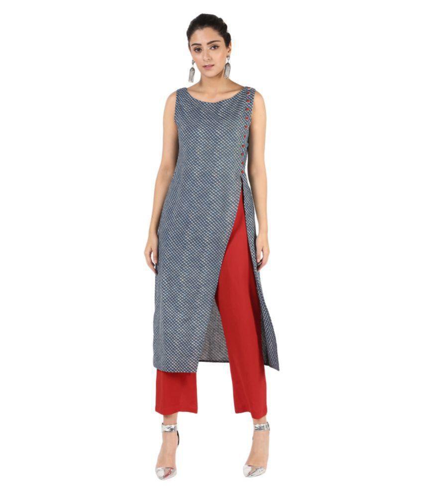 Aprique Fab Cotton Kurti With Palazzo - Stitched Suit