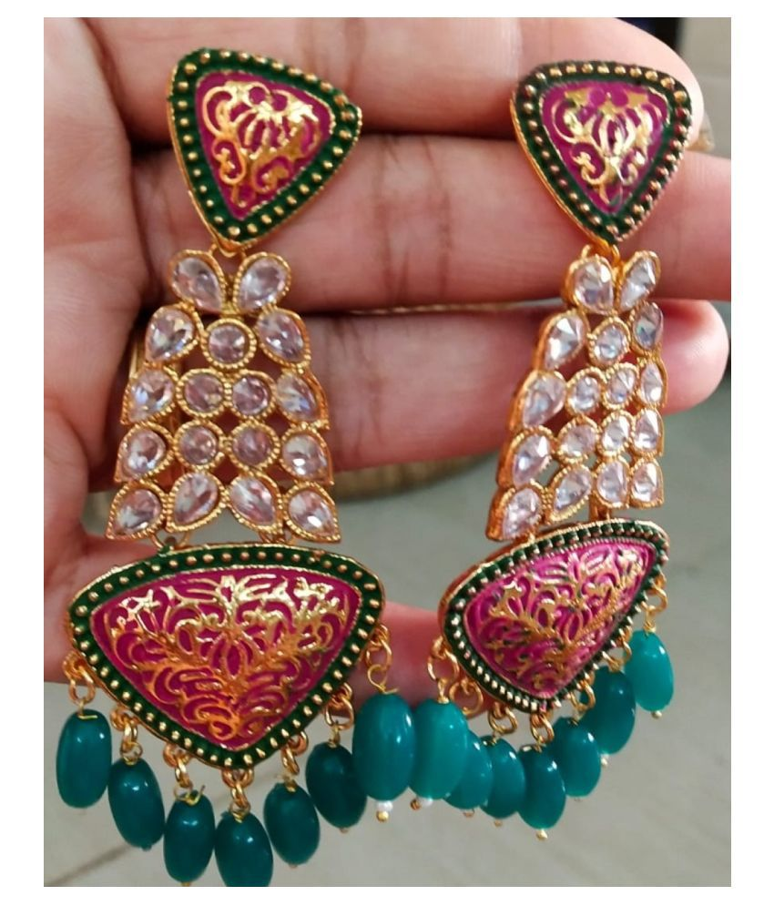 BEAUTIFUL PINK AND GREEN EARRINGS