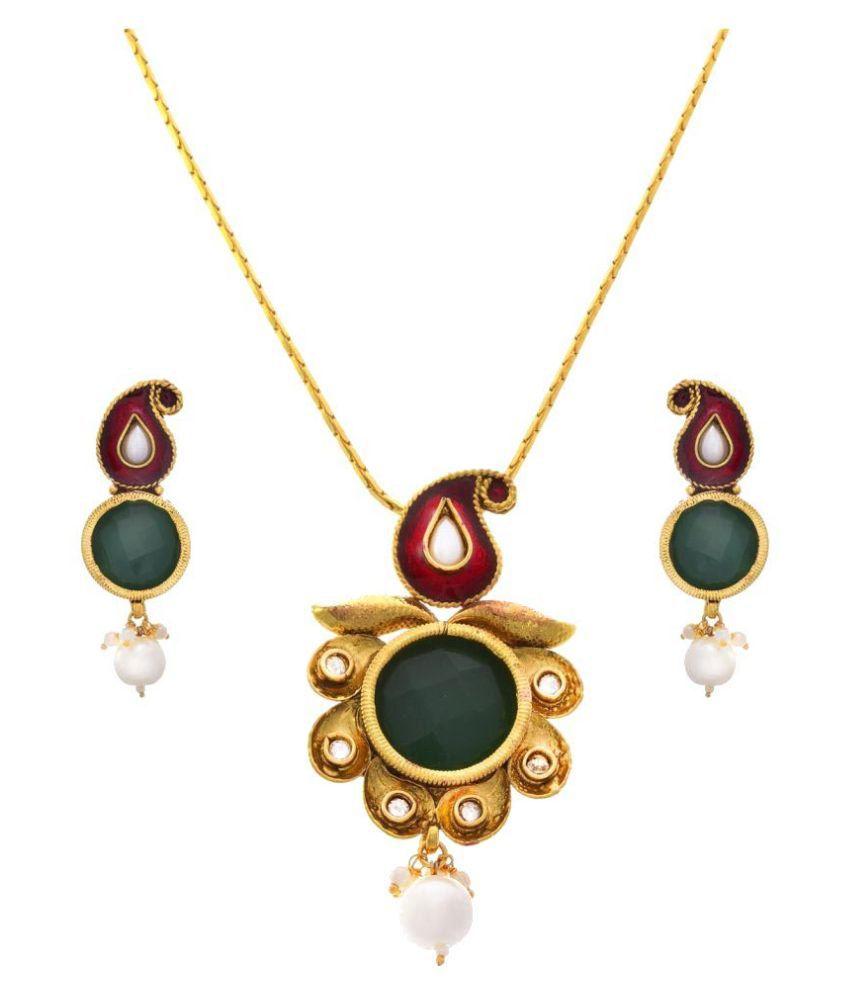 JFL - Traditional Ethnic Evergreen One Gram Gold Plated Red & Green Kaerie Pearl Designer Pendant Set for Girl and Women.