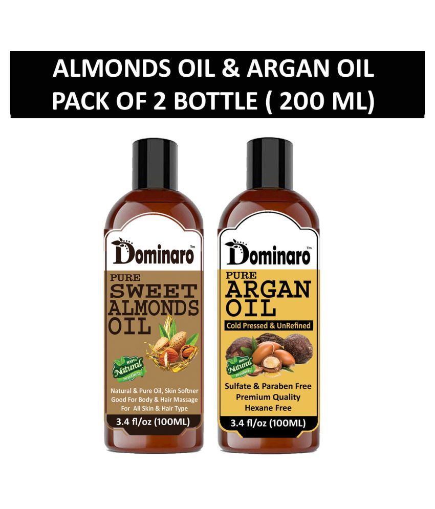 Dominaro 100% Pure Sweet Almonds Oil & Argan Oil 200 mL Pack of 2