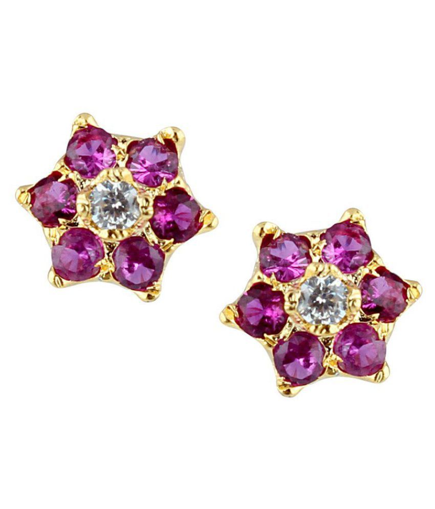 Parijaat Pink Gold Plated Alloy Ethnic CZ Stud Earring