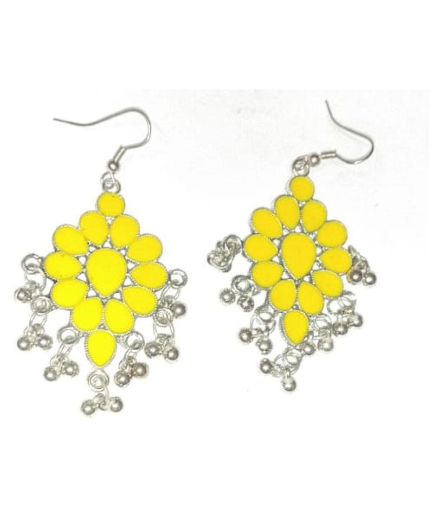 YELLOW FLOWER OXIDIZED HANGING EARRINGS