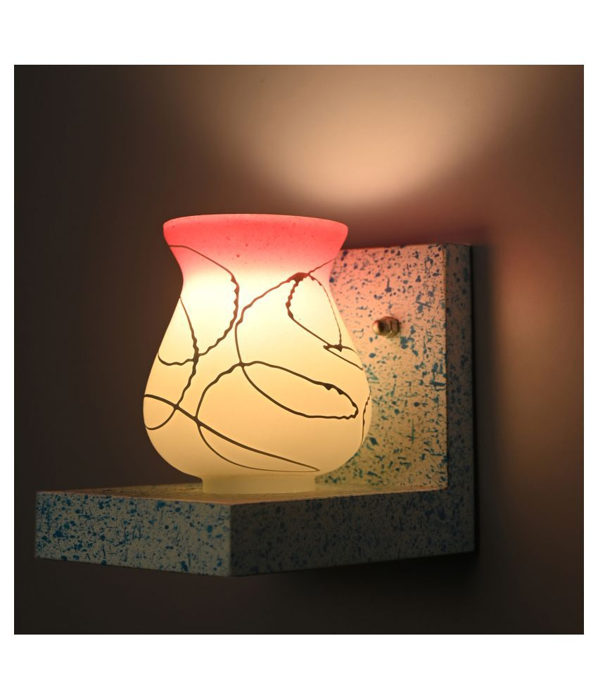 Somil Marble Look Wood Fitting Shade Glass Wall Light White - Pack of 1