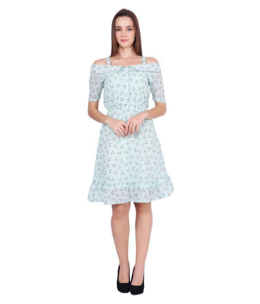 Meraki Vine Georgette Green A- line Dress