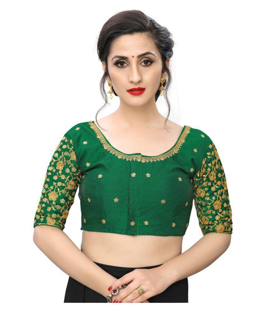 PRAFULBHAI KANTILAL RACHHADIYA (HUF) Green Silk Readymade with Pad Blouse