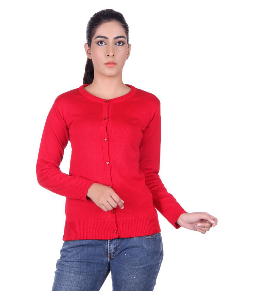 Ogarti Acrylic Red Buttoned Cardigans