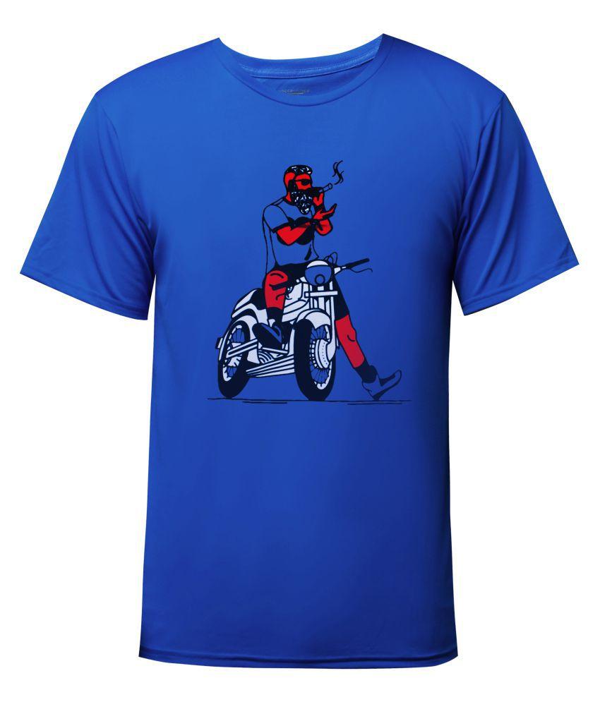 Generic Cotton Lycra Blue Printed T-Shirt