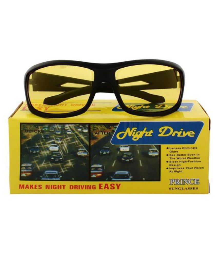 Night Vision Glasses Men and Women for Bike Riding and Car Driving Sport Polarized Anti Glare Night Vision Glasses Reduce Eye Strain (Made in India)  WITH YELLOW BOX PACKING