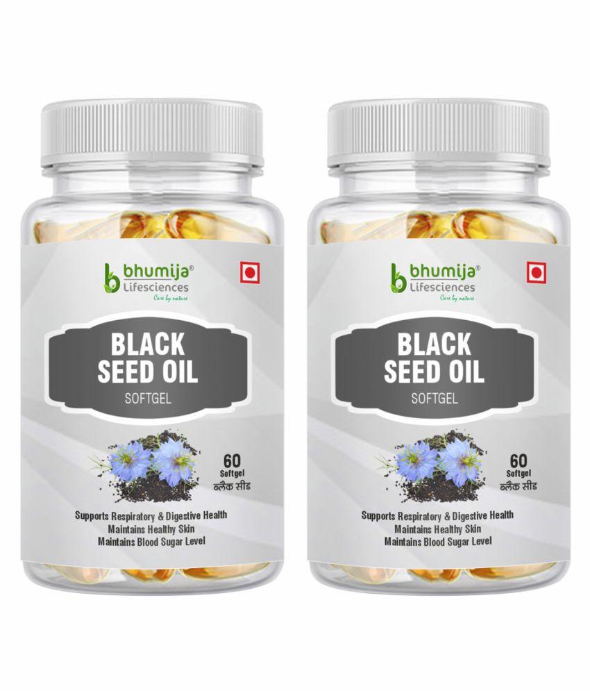 BHUMIJA LIFESCIENCES Black Seed (Kalaunji) Oil 500mg Softgel Softgel 120 no.s Pack of 2