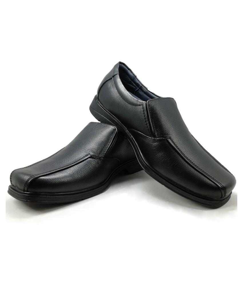 URV SHOES Slip On Genuine Leather Black Formal Shoes