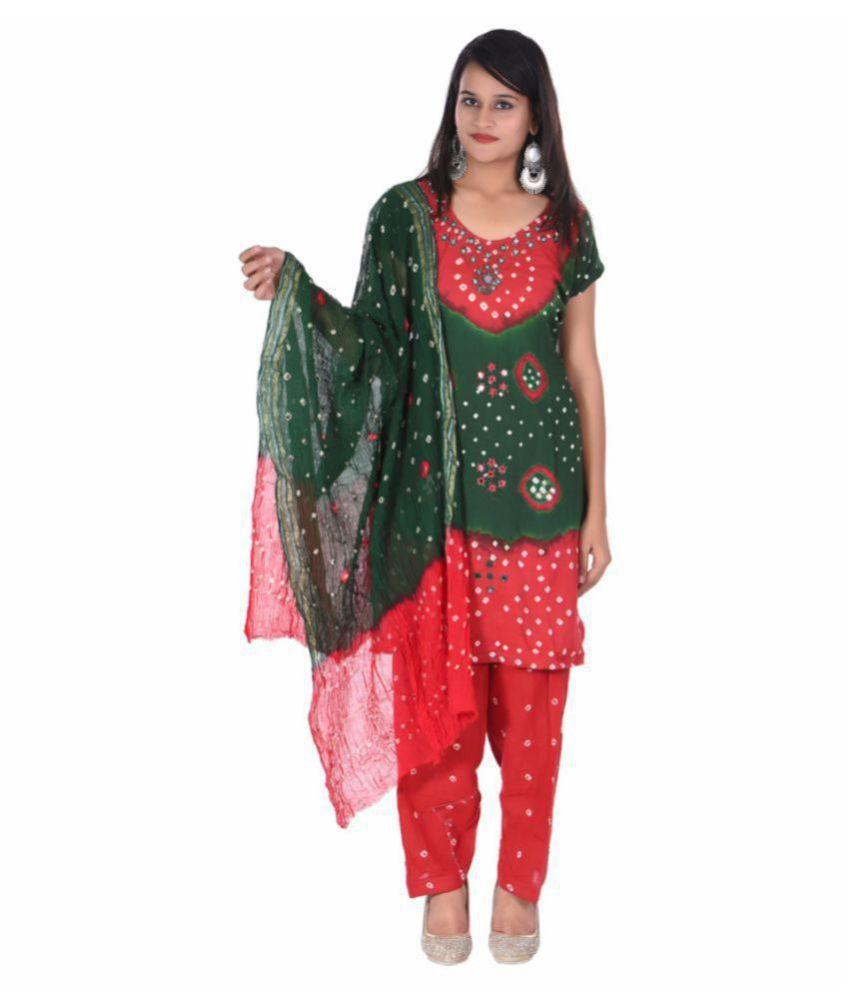 Apratim Green,Red Cotton Dress Material