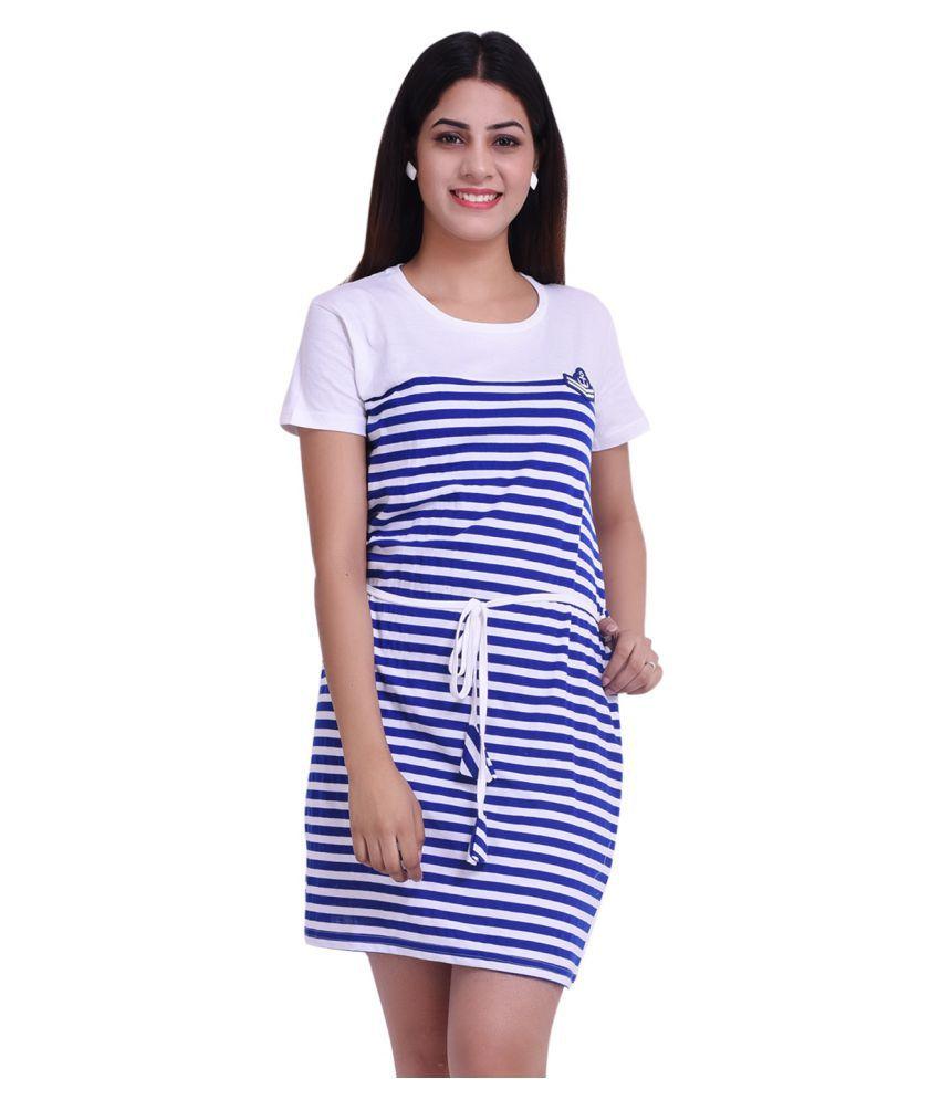 COUPLESTUFF.IN Cotton Blue T-shirt Dress