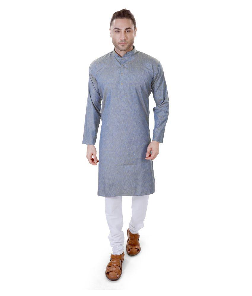 M Maharaja Blue Linen Kurta Pyjama Set