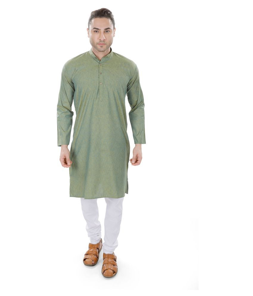 M Maharaja Green Linen Kurta Pyjama Set