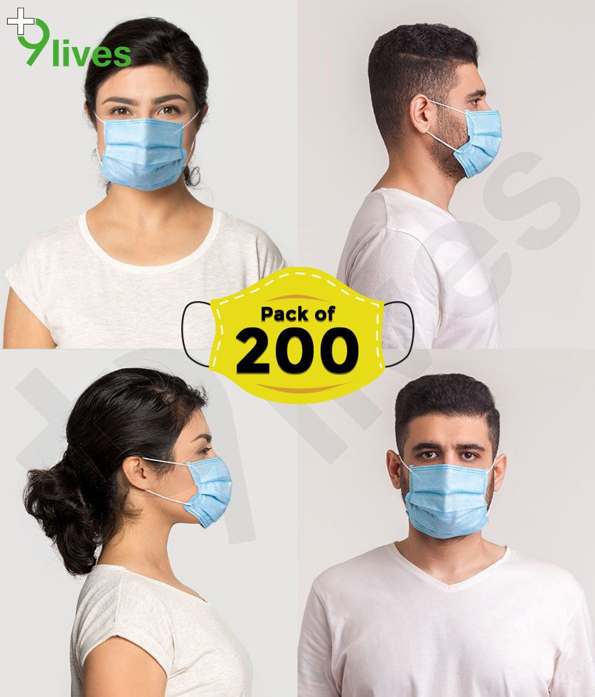 9Lives without Nose Pin 3 Ply Disposable  Anti Pollution Face Mask - 200 Pcs