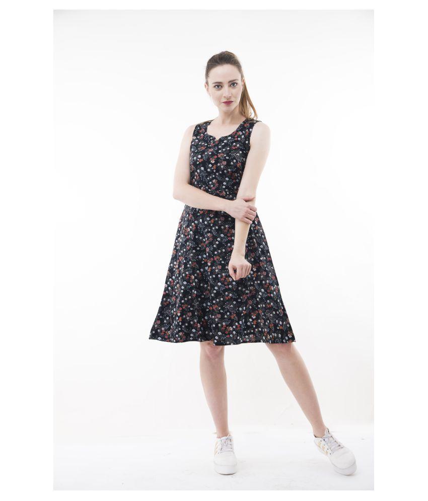 ammelli Poly Viscose Black A- line Dress