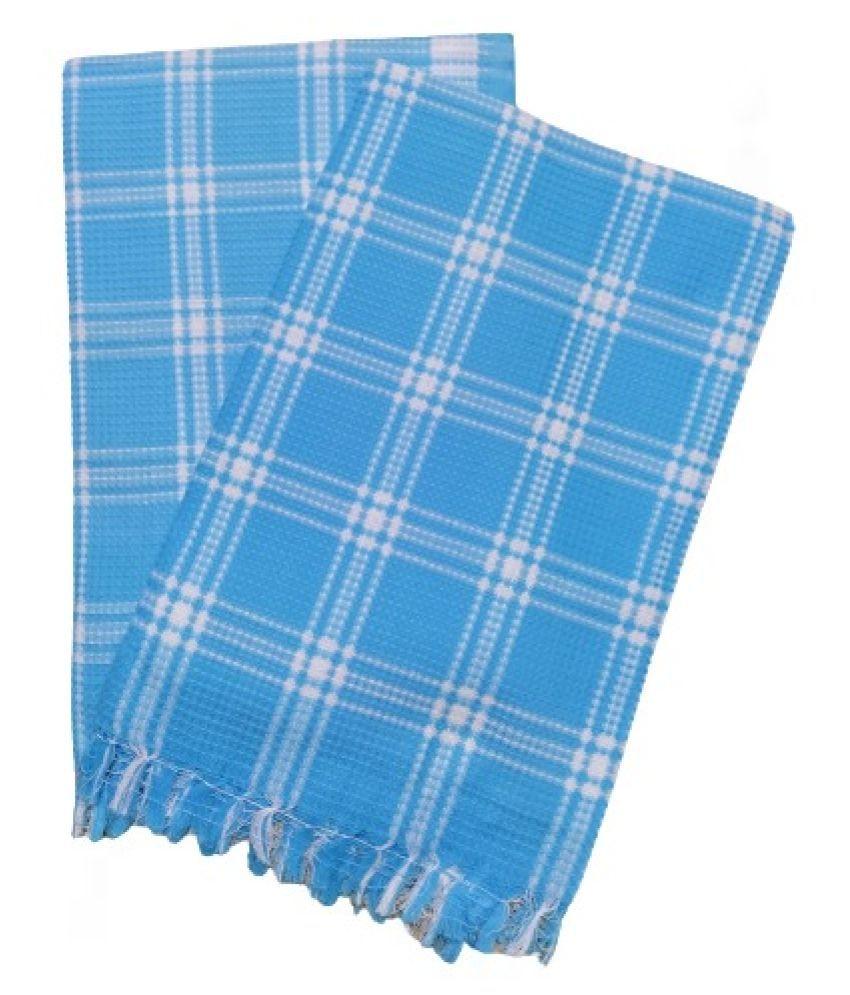 VIRUTSHAM Set of 2 Cotton Bath & Face Towel Set Blue
