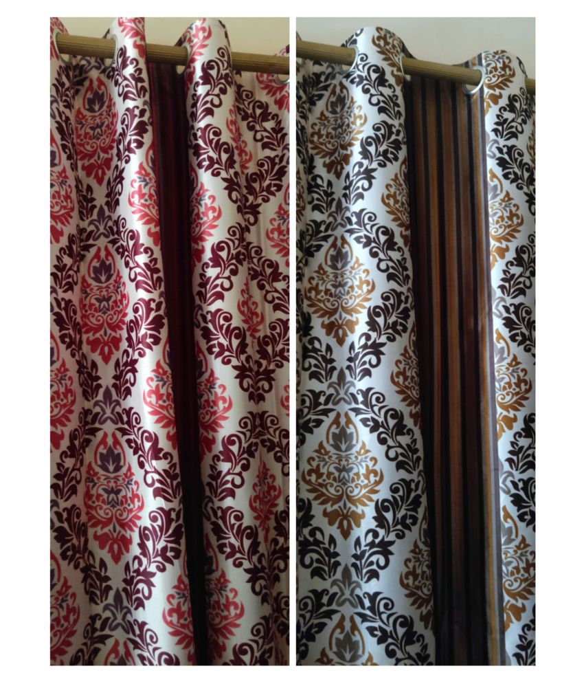 DS Creations Set of 4 Door Eyelet Polyester Curtains Multi Color