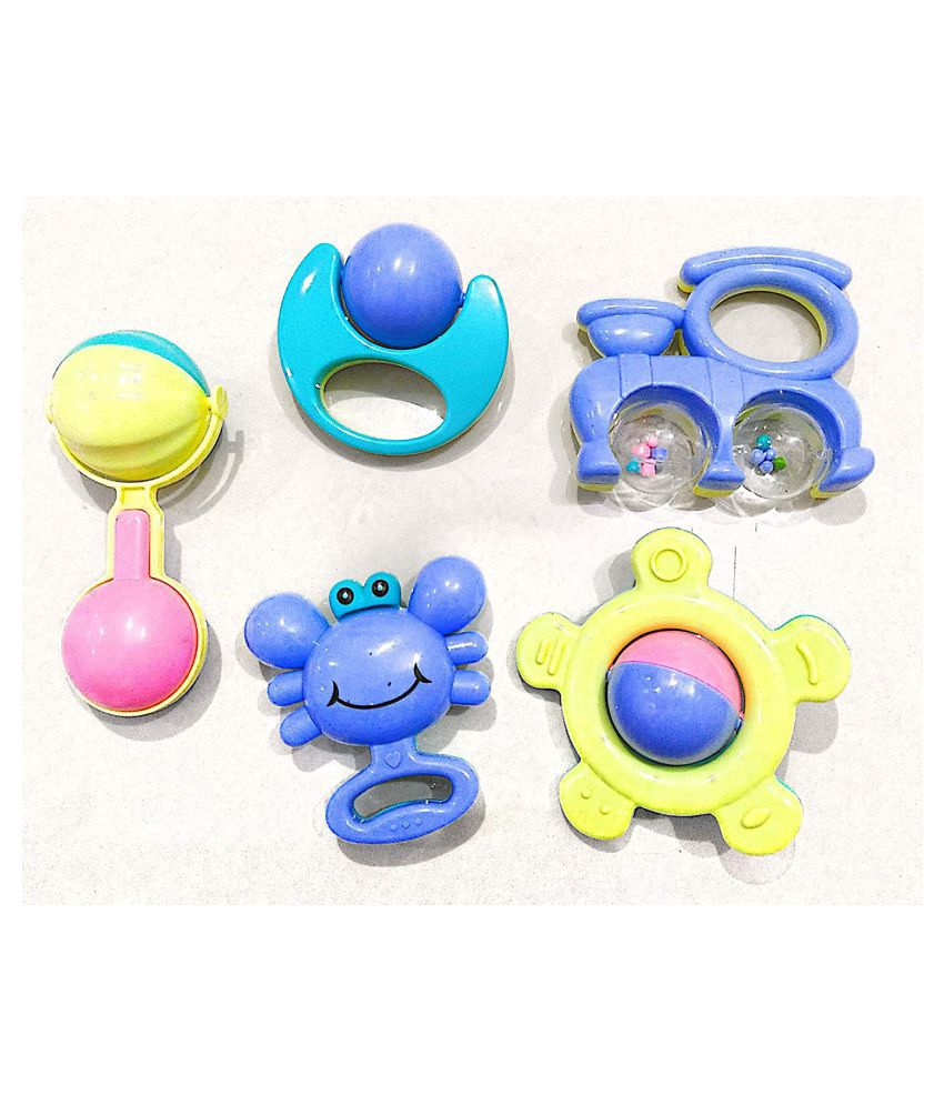 New Born Baby Dugi Dugi Rattle Set Sweet Cuddle Infant Non Toxic Jhun Jhuna for Babies Teethers Gift Set Toy with Attractive Figures
