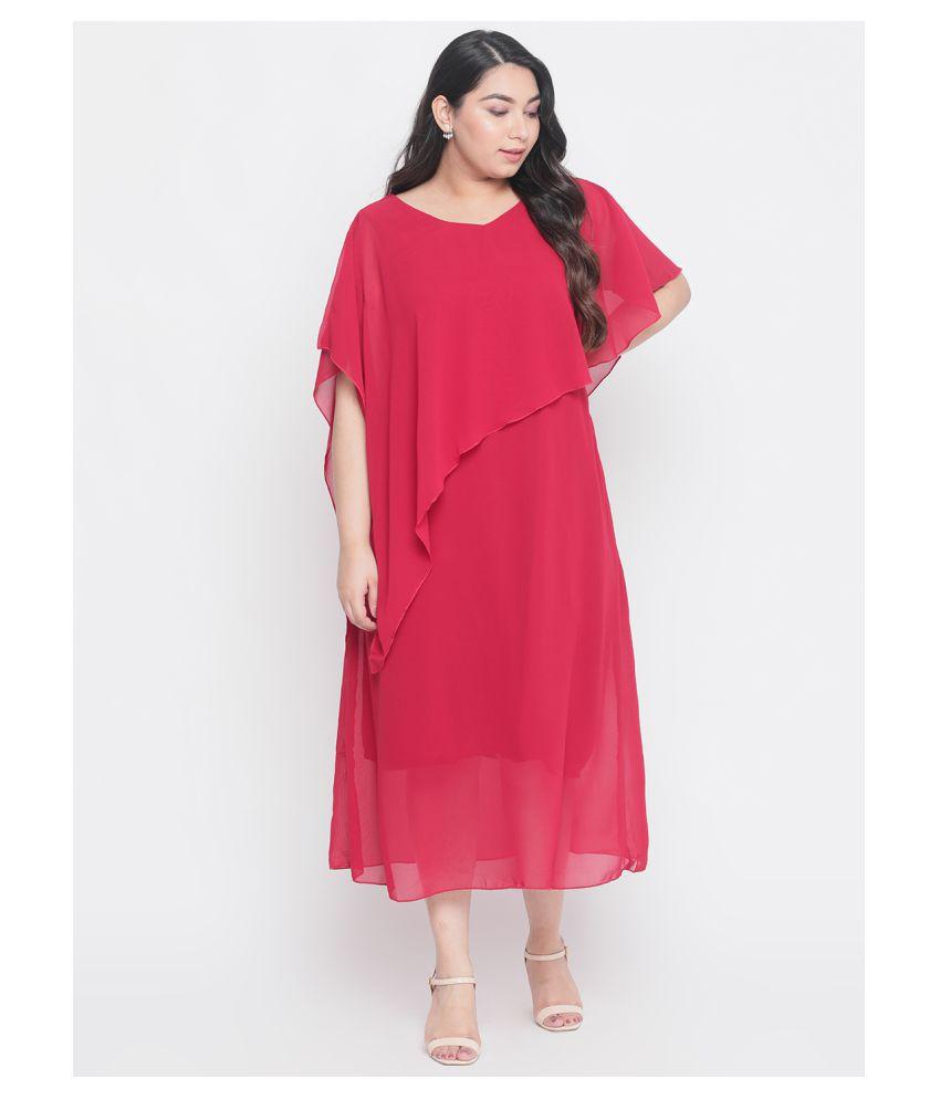 Amydus Georgette Red A- line Dress