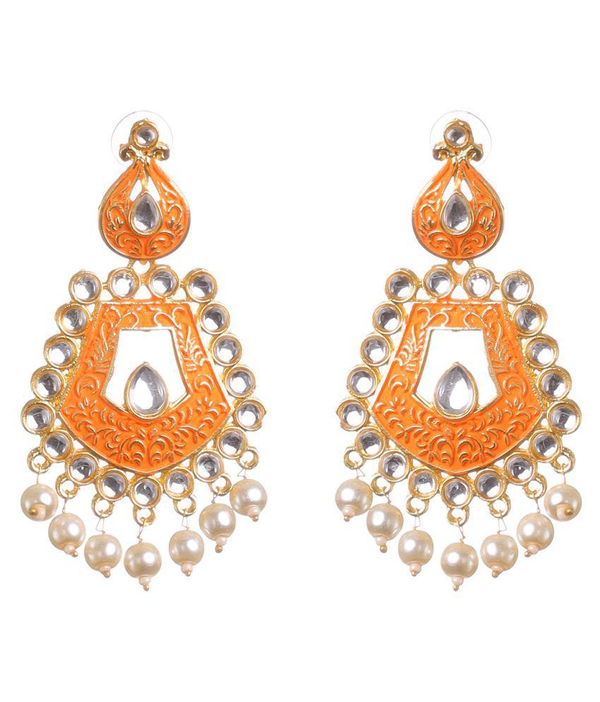 BLOSSOM CHERRY Women's and Girls Trible Earring  Clip-On Minakari Kundan Metal and pearl Gold Orange Designer fashion